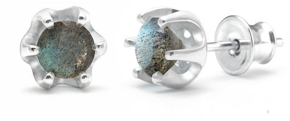 Kuźnia Srebra - Kolczyki srebrne sztyft, 16mm, Labradoryt, 2g, model