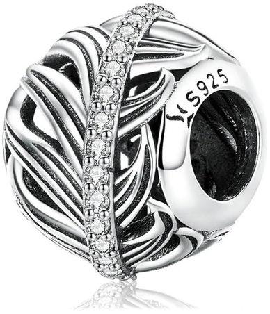 Rodowany srebrny wiszący charms do pandora listek liść leaf srebro 925 NEW103