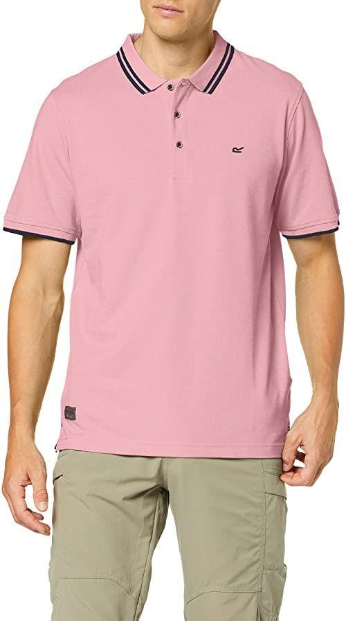 Regatta męska koszulka polo Talcott Ii Coolweave bawełna pique 3-guziki w górę dekolt koszulki polo z długim rękawem T-shirty/polo/kamizelki chłodny róż S