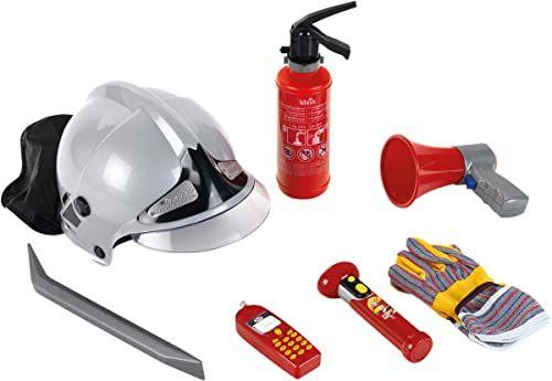 Theo Klein 8928 Zestaw strażacki Zestaw 7 elementów zawiera kask, latarkę i wiele więcej Gaśnica z funkcją rozpylania Wymiary opakowania: 52,4 cm x 35 cm x 20 cm