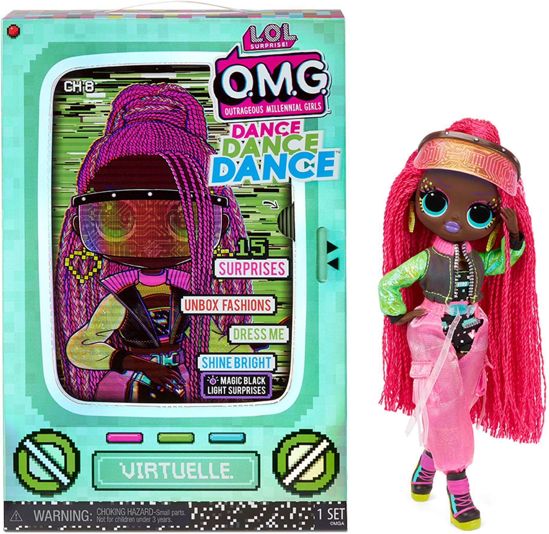LOL Surprise OMG Dance Dance Dance Lalka Modowa Virtuelle z 15 Niespodziankami, Ubraniami, Światłem UV, Modnymi Akcesoriami, Butami, Stojakiem Na Lalkę i Opakowaniem TV. Dla Dzieci w wieku 4+