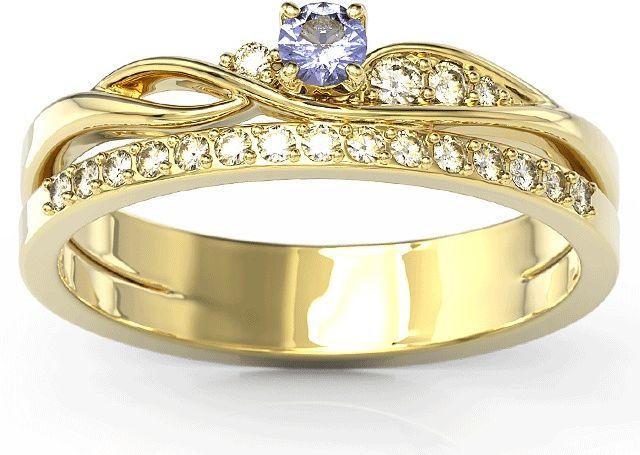 Pierścionek z żółtego złota z tanzanitem i brylantami bp-77z-tan/d