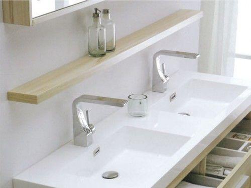 Umywalka łazienkowa podwójna z lanego marmuru KANSAS, biała Made in Italy
