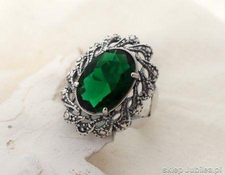 Castellon - srebrny pierścień ze szmaragdem
