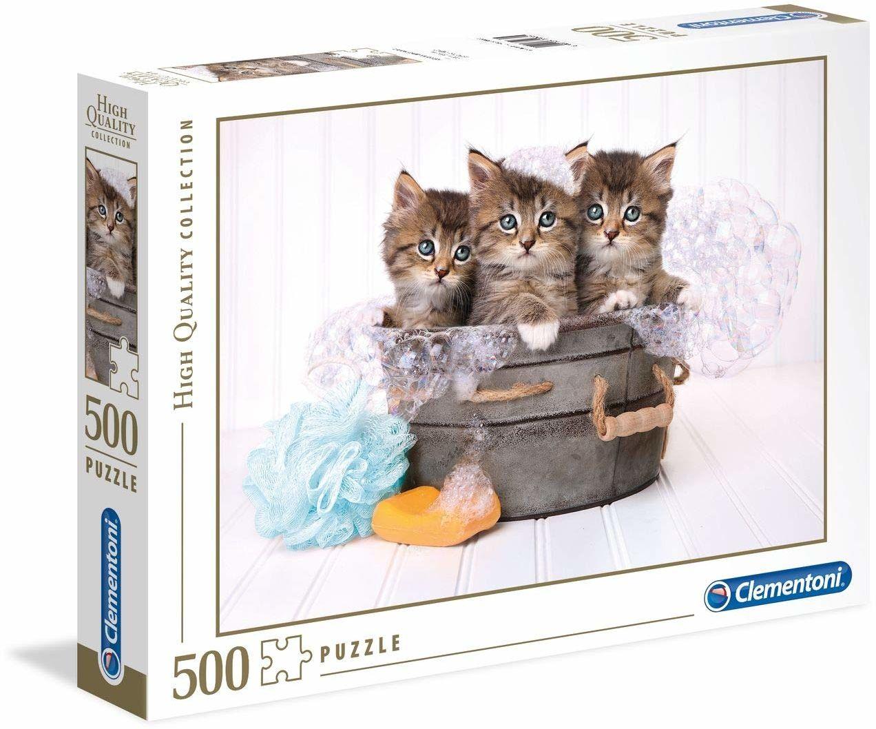 Clementoni 35065 High Quality Puzzle 500 części koty z mydłem, wielokolorowe