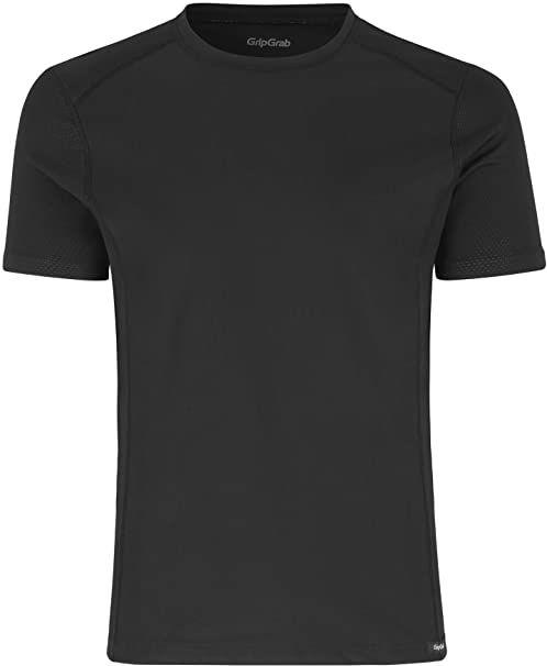 GripGrab funkcjonalna koszulka funkcyjna, dla dorosłych, wiatroszczelna, z krótkim rękawem, do jazdy na rowerze, bez zapachu, wysoka oddychalność podczas uprawiania sportu, czarna, XS