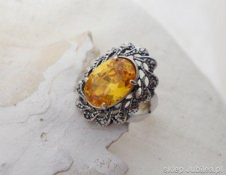 Castellon - srebrny pierścień z cytrynem