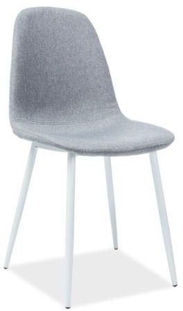 Krzesło FOX szare na metalowych białych nogach  KUP TERAZ - OTRZYMAJ RABAT