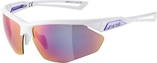 ALPINA Unisex - Dorośli, NYLOS HR Okulary sportowe, white-purple gloss/purple, One Size