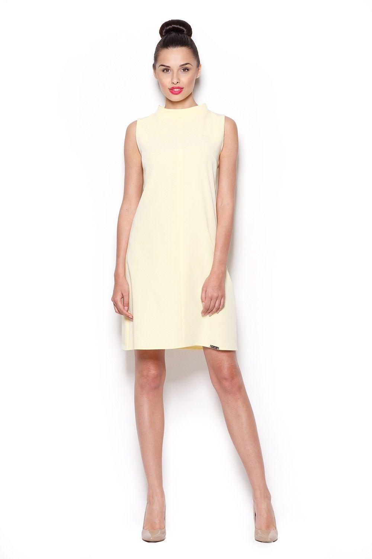 Elegancka sukienka z niskim golfem - żółty