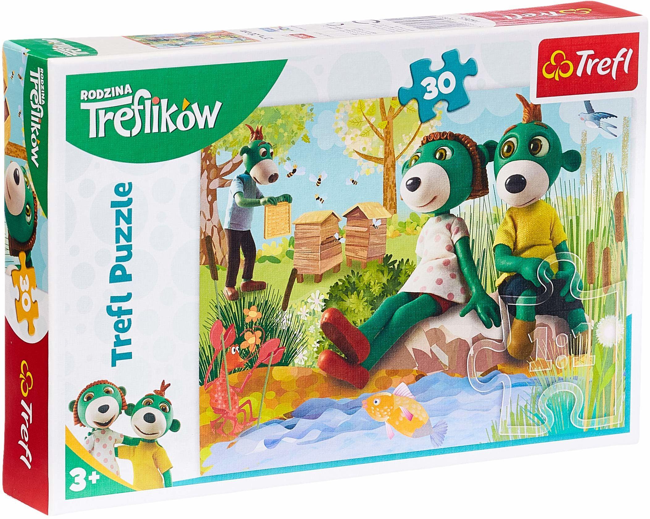 Trefl Trefliki Nad Stawem Puzzle 30 Elementów dla Dzieci od 3 lat z Bohaterami Bajki Rodzina Treflików