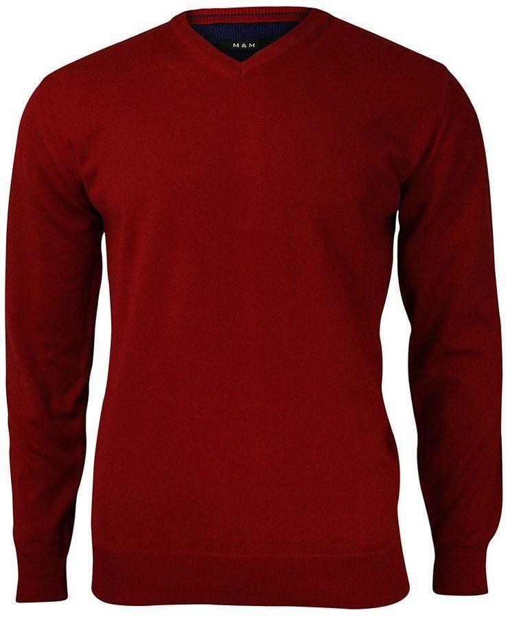 Sweter w Serek, Czerwony, Elegancki, Męski (V-neck) -MM Classic- w Serek, Klasyczny SWMM1235a200czerw