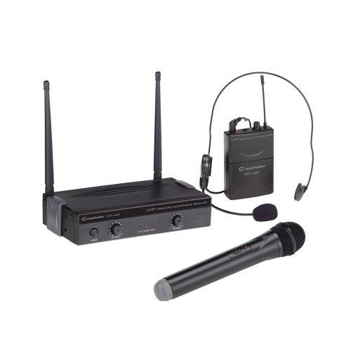 Soundsation WF-U24HP mikrofon bezprzewodowy podwójny (1 do ręki + 1 nagłowny), zmienna częstotliwość, 863-865 MHz