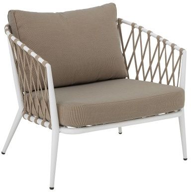 Fotel ogrodowy z oparciem z plecionej liny Cia