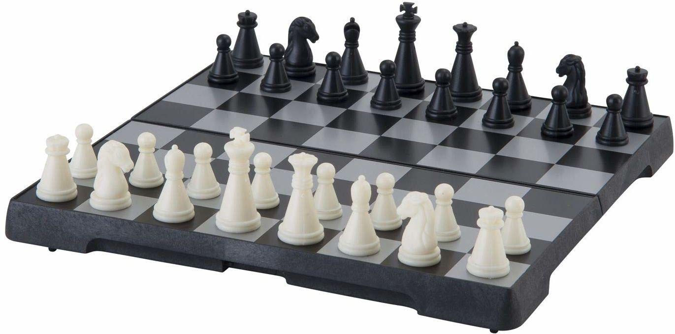 Engelhart 200711  magnetyczna gra szachowa  składana szachownica, dań pedagogiczna z magnesem, podróże, czarna i biała  (16 cm x 16 cm)