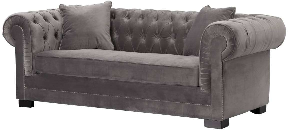 Sofa Chesterfield Classic Velvet Dark Grey 3-os.