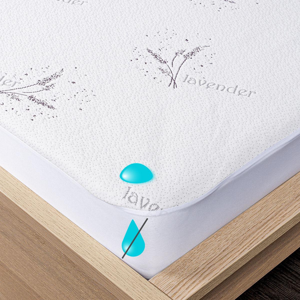 4Home Lavender Wodoodporny ochraniacz na materac z lamówką, 90 x 200 cm + 30 cm, 90 x 200 cm