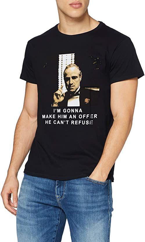 MERCHCODE męski T-shirt Godfather Refuse Tee, Black, XS, MC086
