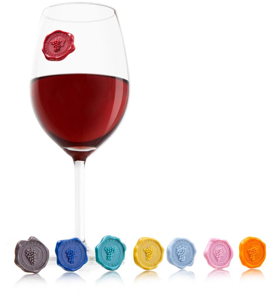 Znaczki na szklanki i kieliszki Klasyczne Winogrona (8szt)