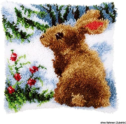 Vervaco Królik w śniegu, poduszka do robienia na drutach, bawełna, wielokolorowa, 40 x 40 x 1 cm