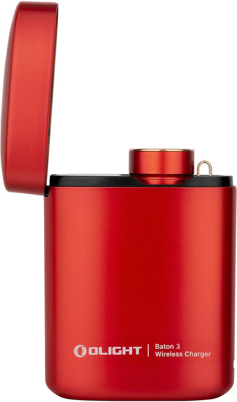 Latarka akumulatorowa Olight Baton 3 Premium Edition Red 1200 lumenów z bezprzewodowym etui ładującym