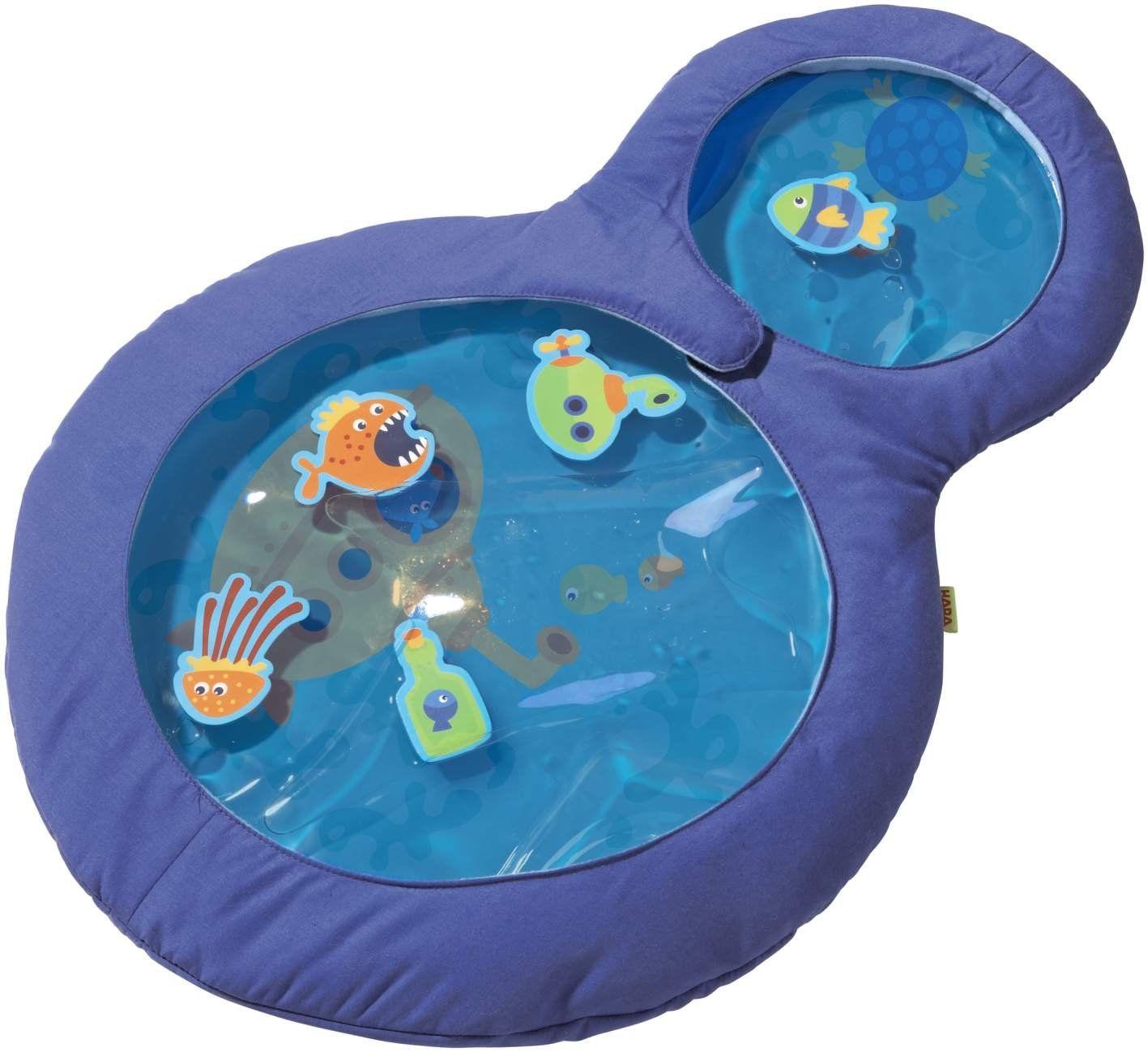 Haba 301184 - wodna mata do zabawy dla małych nurków, zabawka dla dzieci wypełniona wodą z ruchomymi elementami do pływania i dwoma oknami, zabawka od 6 miesięcy
