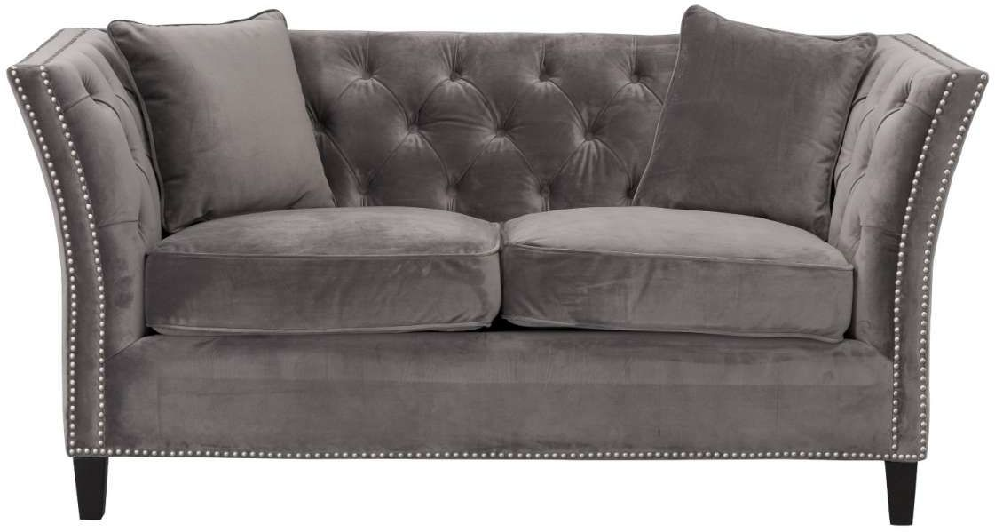 Sofa Chesterfield Modern Velvet Dark Grey 2-os.