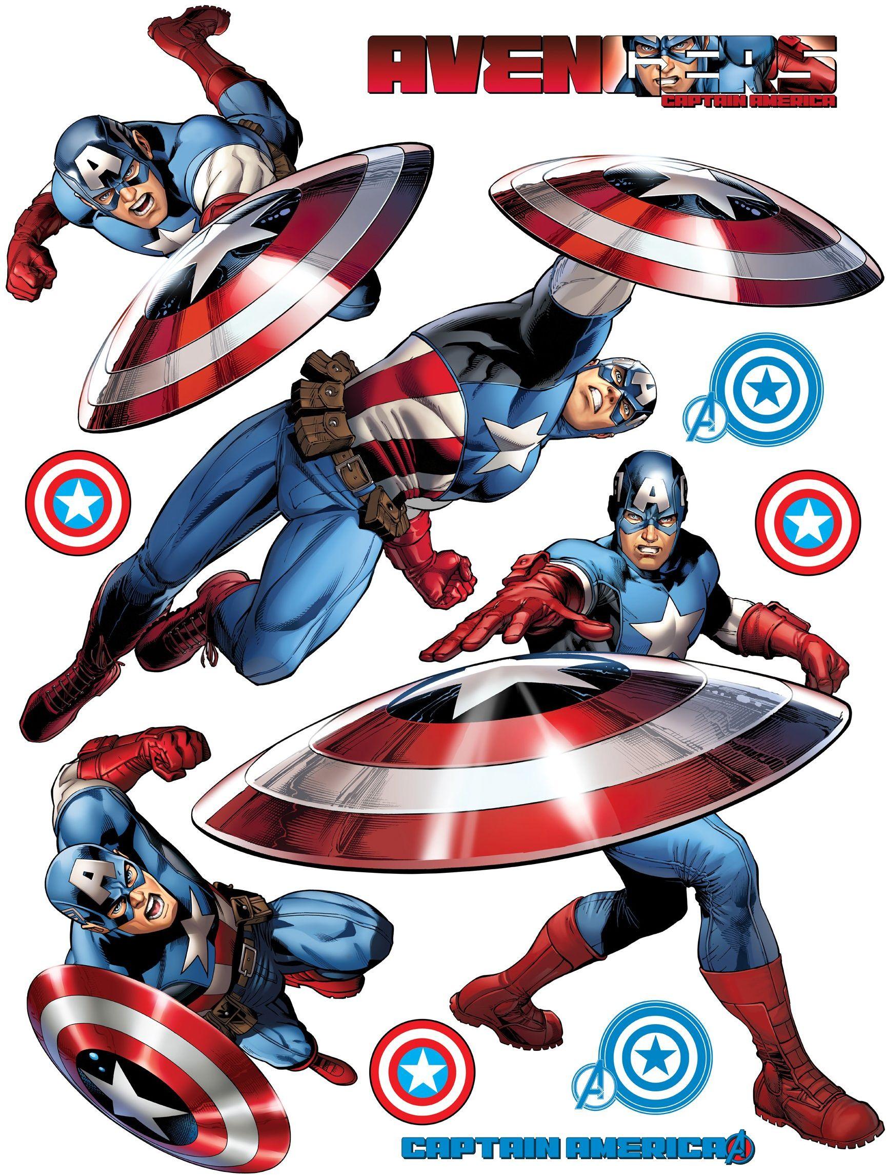 AG Design Marvel Captain America naklejki ścienne, 1 sztuka, folia PVC (bez ftalanów), wielokolorowe, 65 x 85 cm