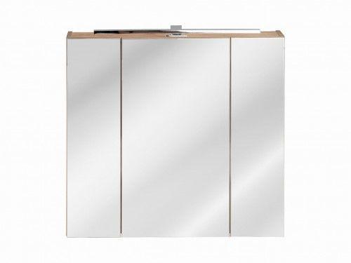 Szafka z Lustrem 80 cm + oświetlenie, Seria Capri Dąb Złoty