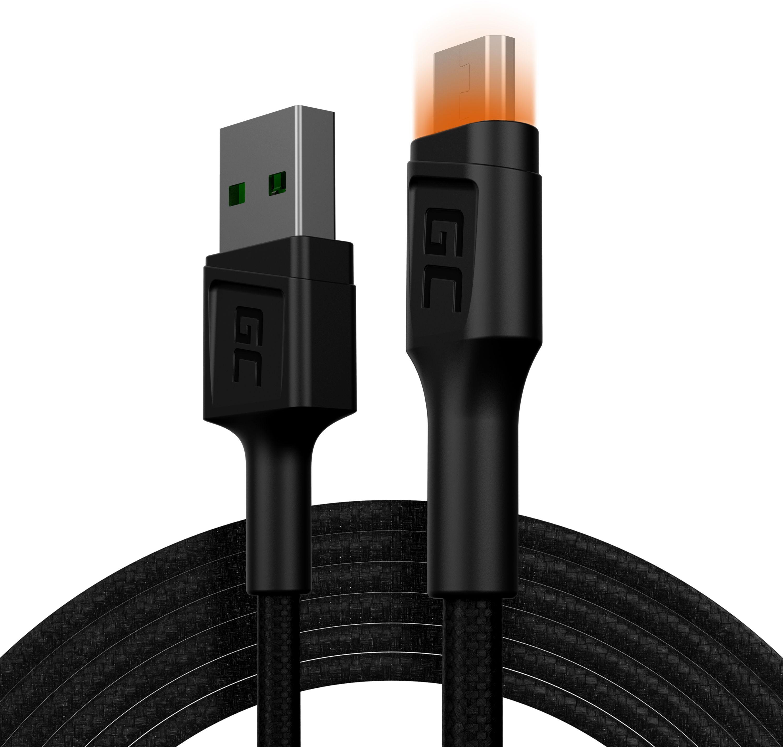 Kabel Green Cell GC Ray USB - Micro USB 200cm, pomarańczowy LED, szybkie ładowanie Ultra Charge, QC3.0
