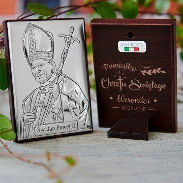 Pamiątka Chrztu - Papież - Srebrny Obrazek z Grawerem