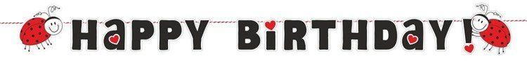 Baner na Urodziny Happy Birthday Biedronki 180cm 1szt. GRL24