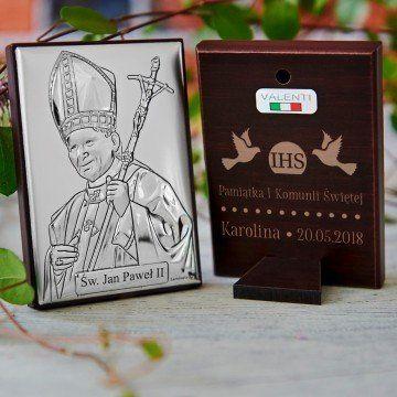 Komunia - Papież - Srebrny Obrazek z Grawerem