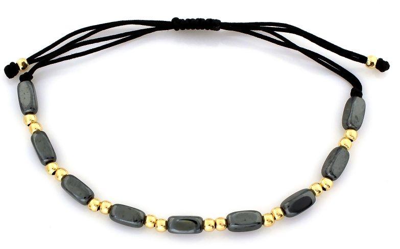 Złota bransoletka 585 hematyt czarny sznurek