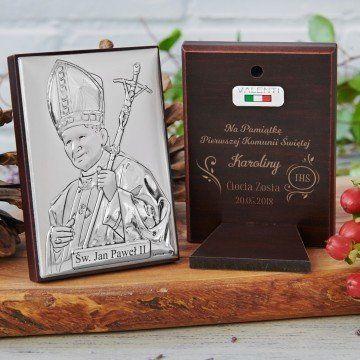 Komunia Święta - Papież - Srebrny Obrazek z Grawerem