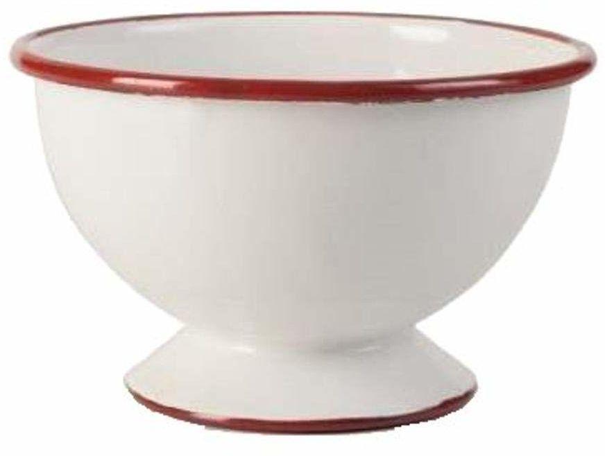 ibili Miska ze stojakiem 12 x 8 cm emaliowana stal biało-czerwona, 12 x 12 x 8 cm