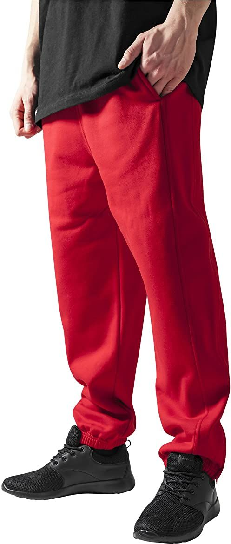 Urban Classics Męskie spodnie dresowe ze sznurkiem, spodnie sportowe z elastycznym zamkiem błyskawicznym, luźne dopasowanie, czerwone XL