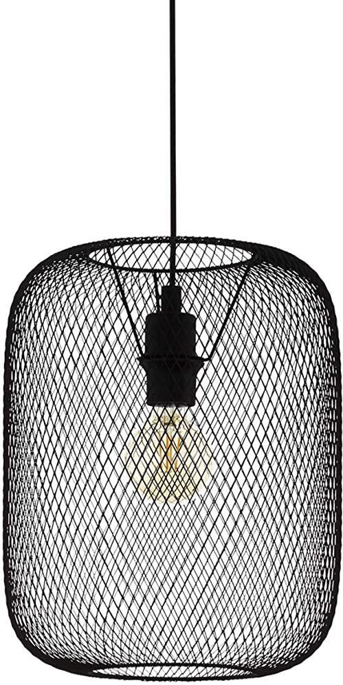 EGLO Lampa wisząca Wrington, 1-punktowa lampa wisząca w stylu vintage, industrialnym, retro, lampa wisząca ze stali, lampa do jadalni, lampa do salonu, wisząca w kolorze czarnym, oprawka E27, Ø 30 cm