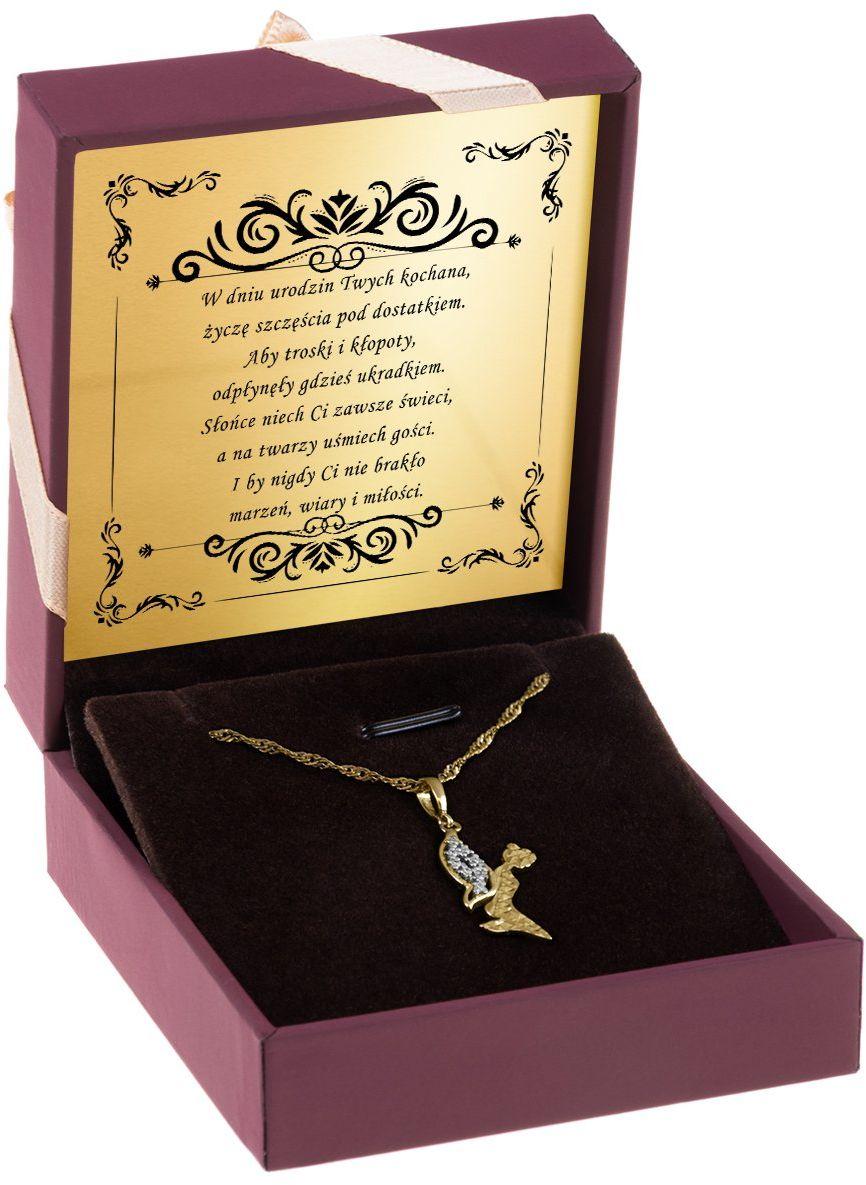 Złoty wisiorek z kryształkami pr. 333 Elf Dedykacja