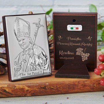Pamiątka Pierwszej Komunii - Papież - Srebrny Obrazek z Grawerem