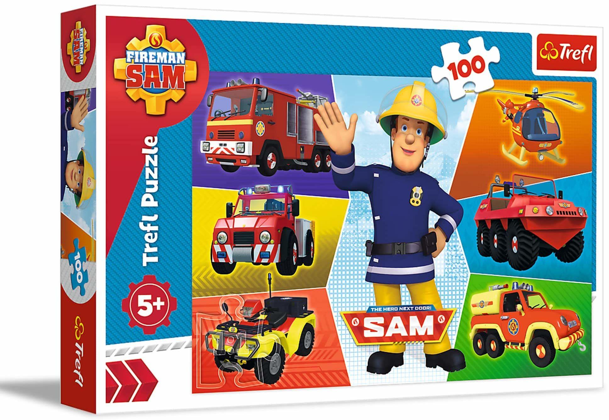 Trefl Pojazdy Strażaka Sama Puzzle 100 Elementów o Wysokiej Jakości Nadruku dla Dzieci od 5 lat