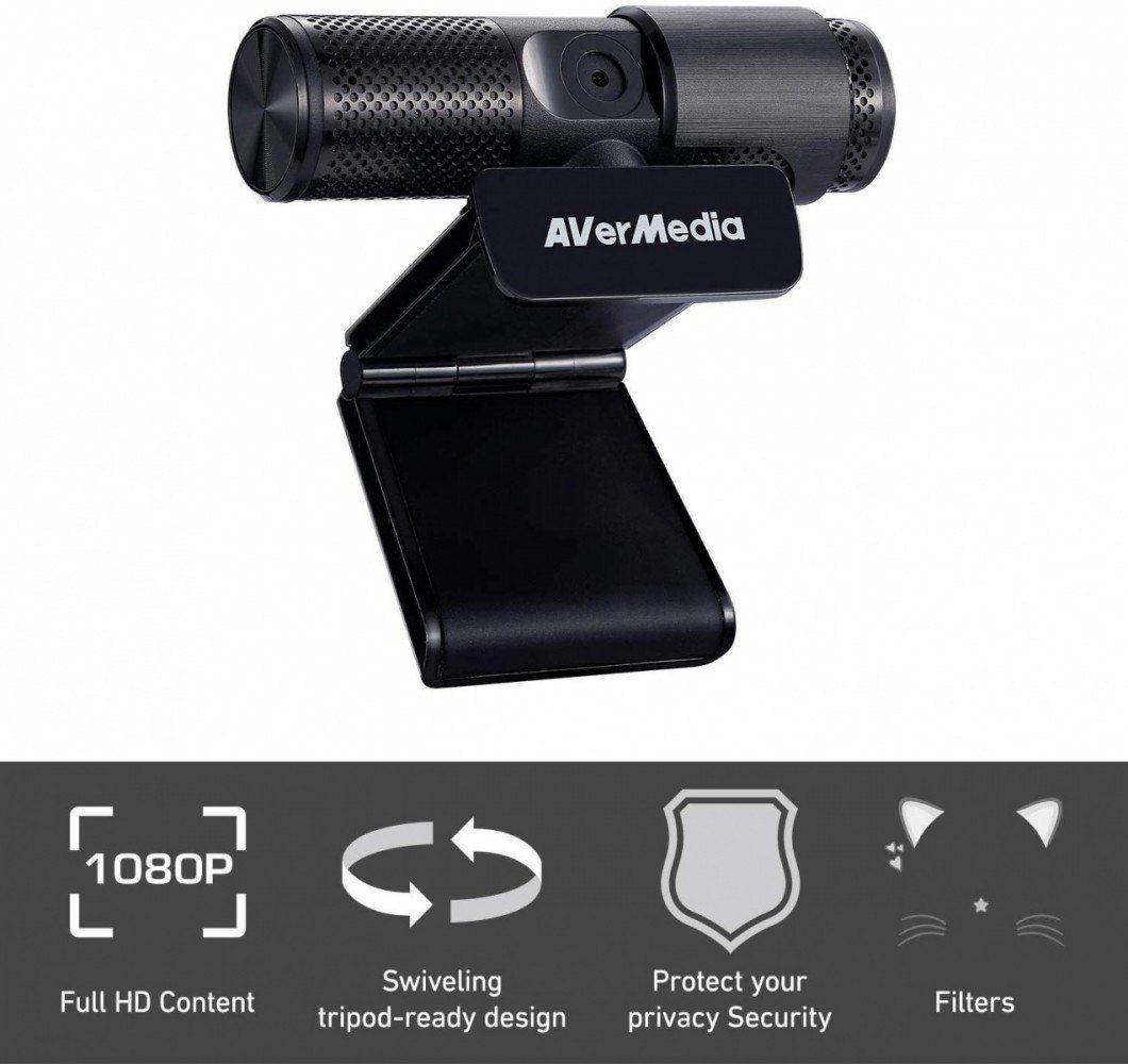 AVerMedia Kamera internetowa Live Streamer CAM313-PW313 (FullHD, 2 mikrofony, 2 Mpix, plug and play)