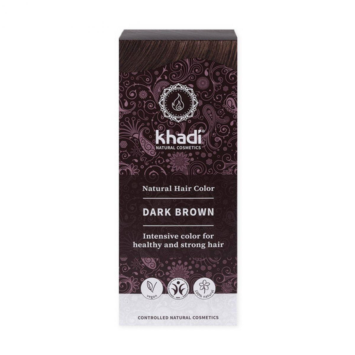 Naturalna indyjska henna - ciemny brąz - 100g - Khadi