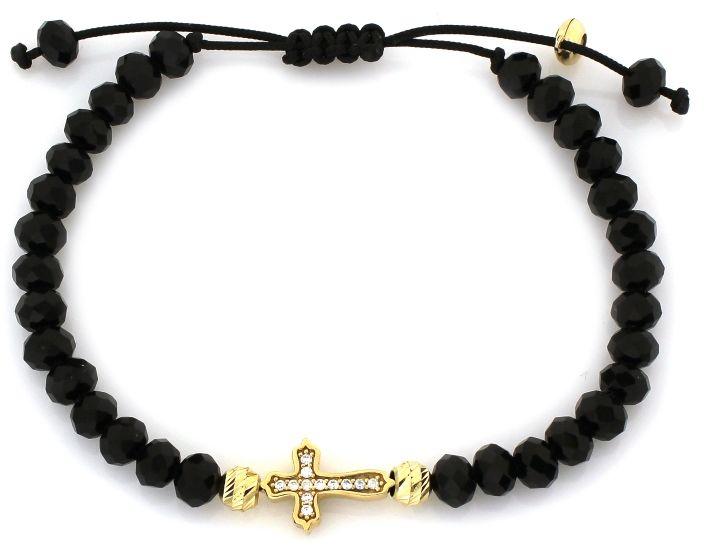 Złota bransoletka 585 sznurkowa z krzyżem hematyt