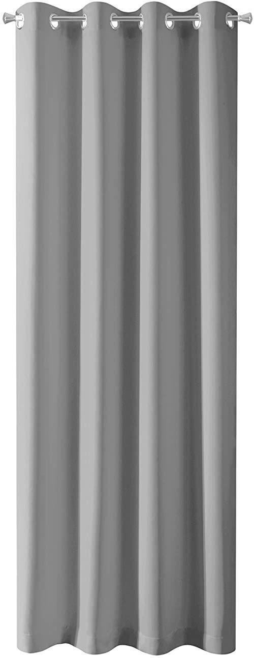 Design91 Gładkie, zaciemniające, 8 oczek, miękkie, nowoczesne i proste zasłony do sypialni, pokoju dziecięcego, salonu, srebrne, 135 x 250 cm