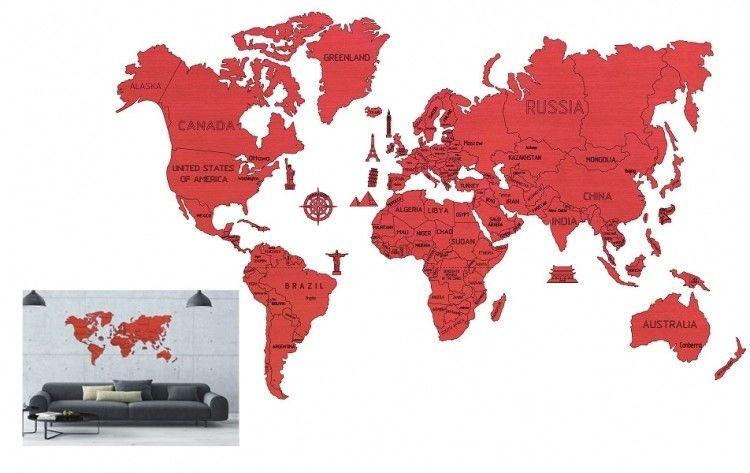 Wooden City Wooden City Mapa świata rozmiar XXL kolor coral 5_711629