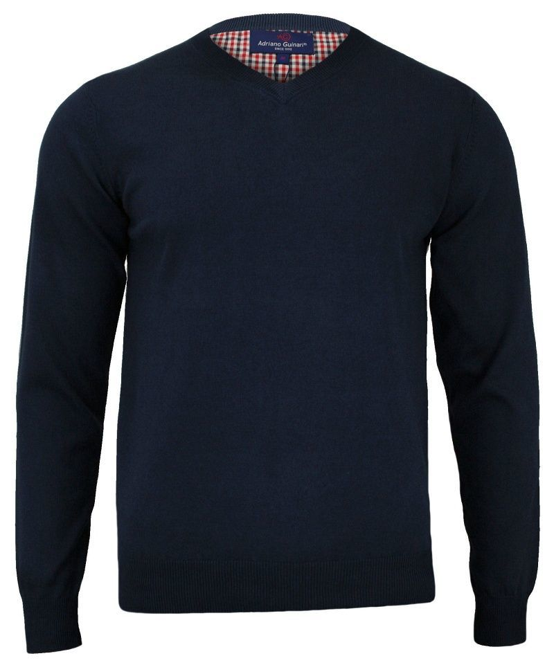 Sweter Ciemnogranatowy Elegancki Męski, 100% Bawełna, Dekolt w Serek (V-neck) - Adriano Guinari - SWADGAW18navyblazerV
