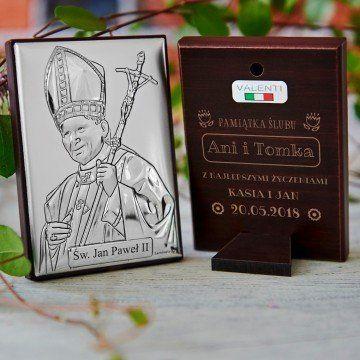 Pamiątka ślubu - Papież - Srebrny Obrazek z Grawerem