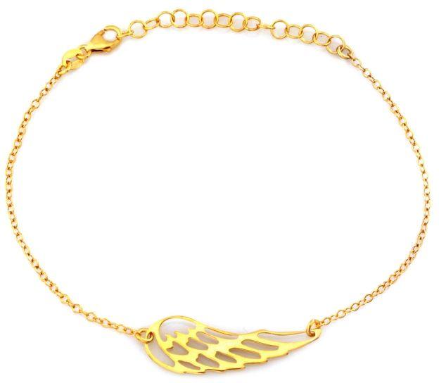 Srebrna bransoletka 925 pozłacana z ażurowym skrzydłem 1,25g