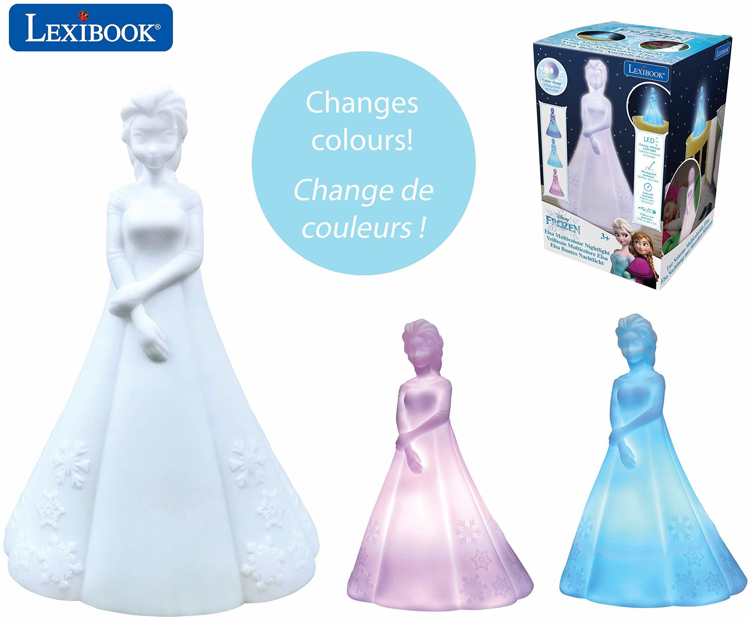 Lexibook NLJ110FZ Elsa Frozen Wielokolorowa lampka nocna - Disney kolorowa lampka nocna dla dzieci z timerem
